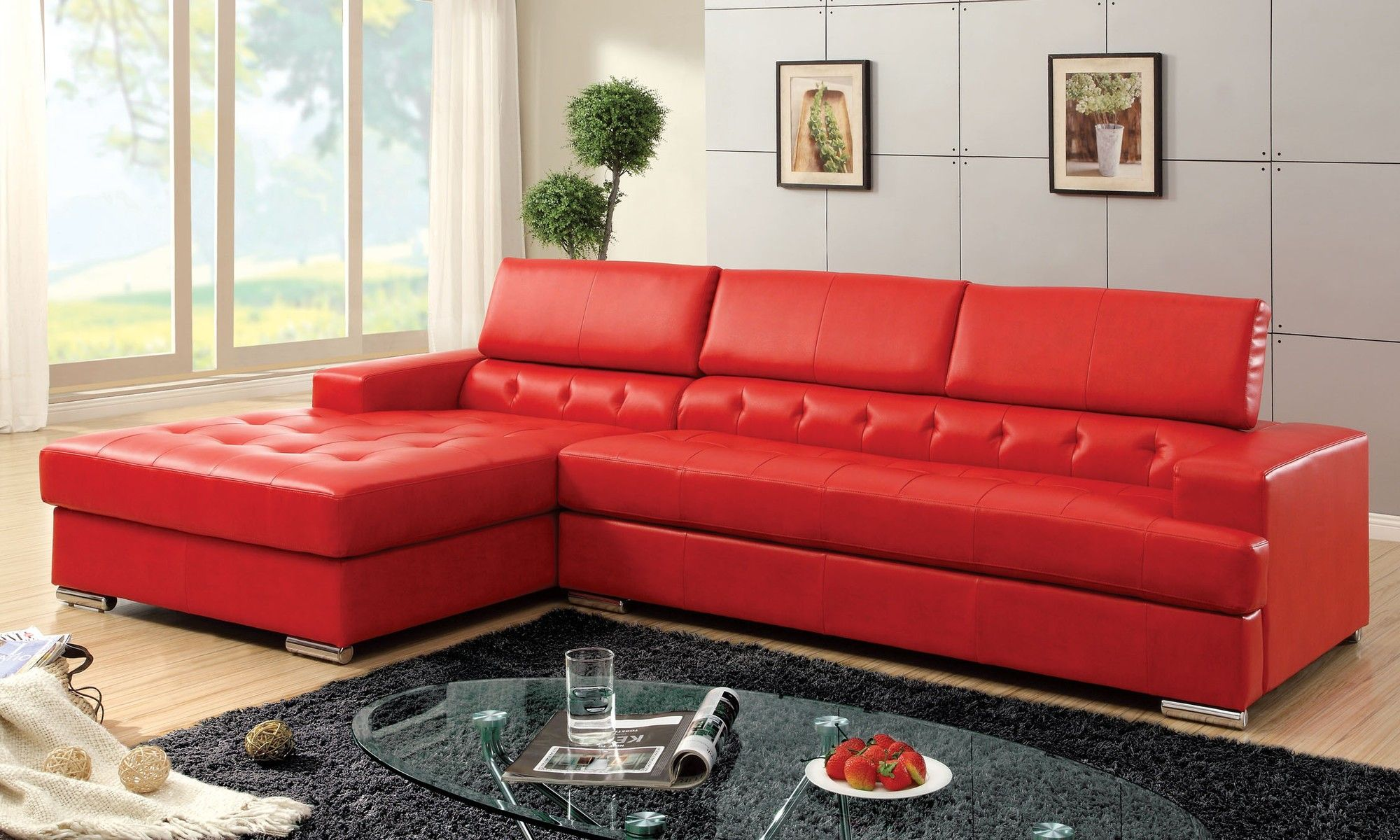 Sofa With Tufted Chaise Mixed Rectangle Black Fur Rug Red Leather Coucheshome Furnishings Kitchens Appliances Sofas Beds Ikeaikea Home Furnishings