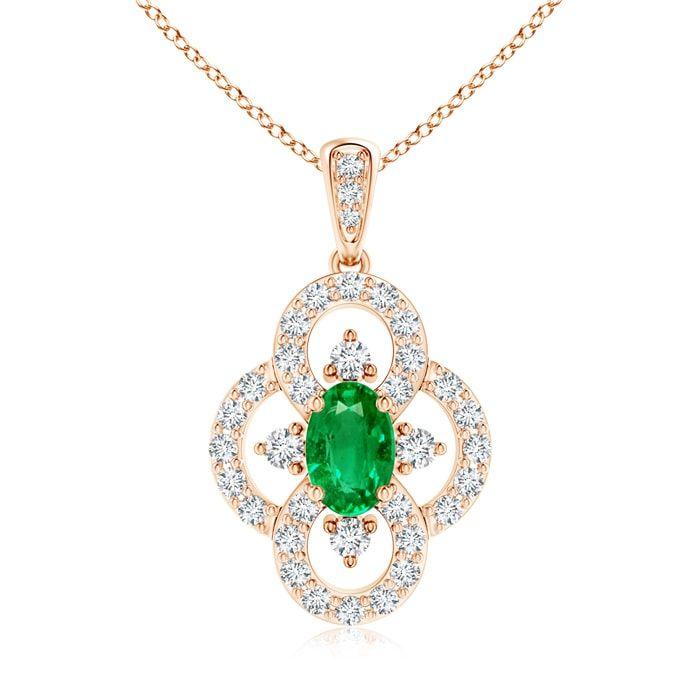 Angara Vintage Style Emerald and Diamond Clover Pendant jEStc