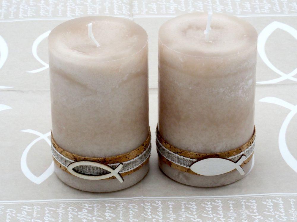 2 Stumpenkerzen Kerzen Sand Beige Kork Fisch Tischdeko Stumpenkerzen Kerzen Deko Konfirmation