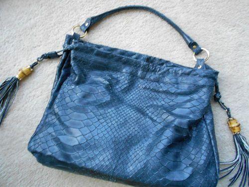 Jenrigo Leather Bag Large Blue Snake Pattern Purse Tote Bamboo Ebay