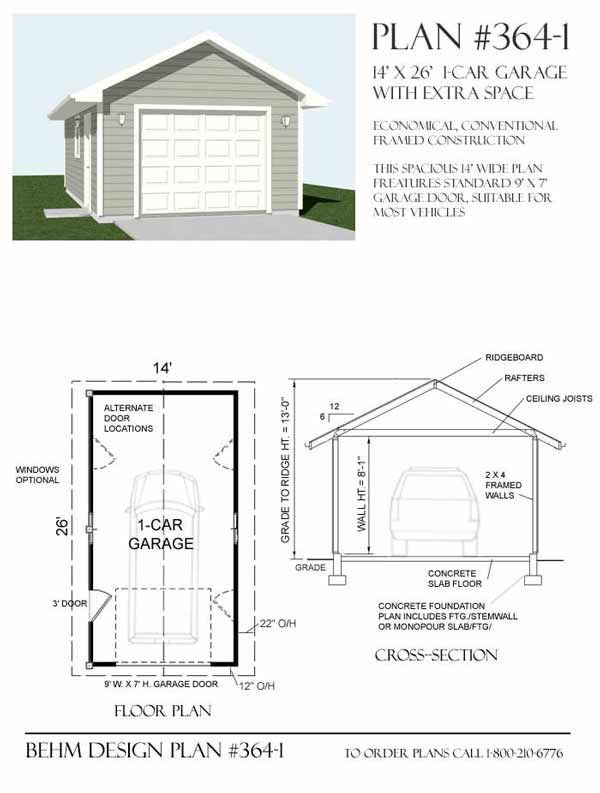 1 Car Garage Plan No 3641 By Behm Design 14 x 26 – 26 X 26 Garage Plans