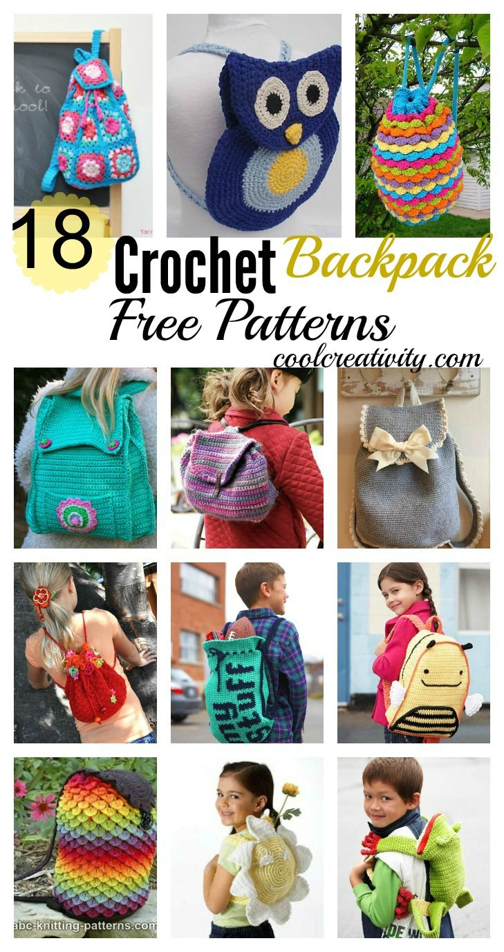 18 Crochet Backpack with Free Patterns.  Crochet  Backpack  Pattern 2dcb4457474ef