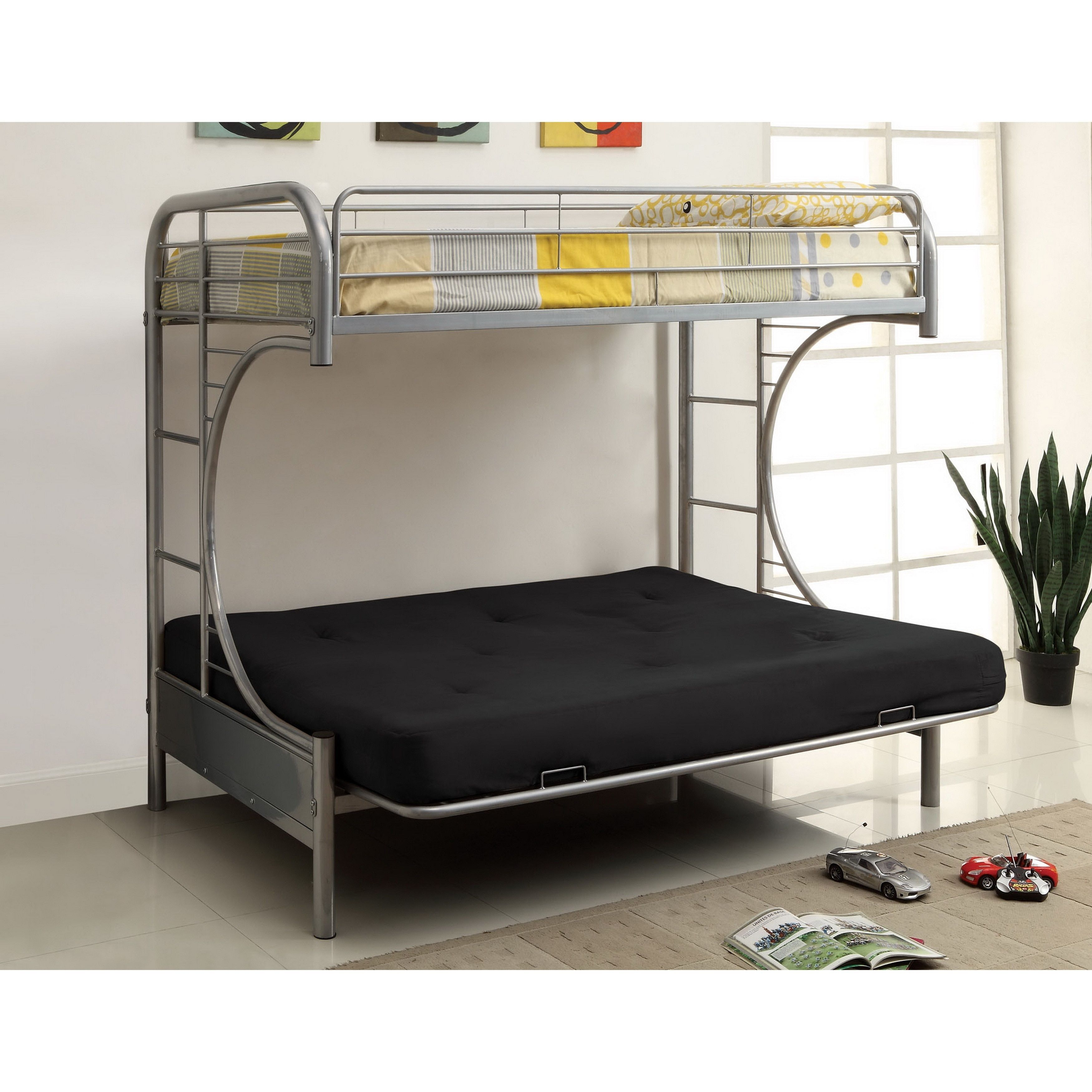 p if beds bed metal bunk futon with mall wood included mattress