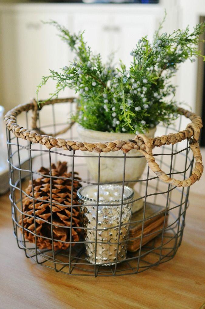 Winter Decorating Ideas Inside Home Decor Wire Basket
