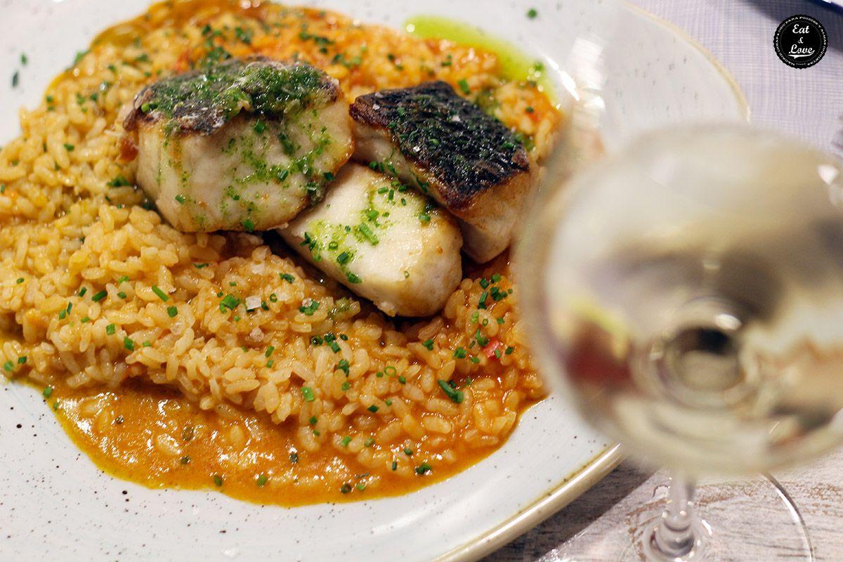 Arroz meloso con lomos de corvina salvaje en El Chiringuito de El Señor Martín restaurante Madrid