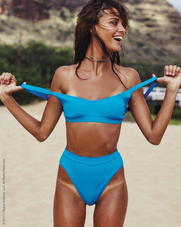 11add402acaf L Space High Waist Ribbed Bikini Bottom in Electric Blue