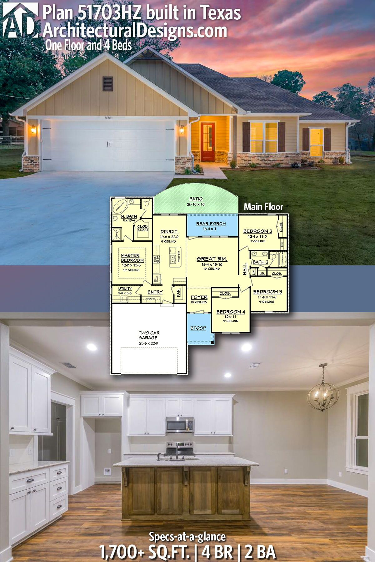 Plan 51703hz One Floor And 4 Beds 4 Bedroom House Plans Architecture Design Bedroom House Plans