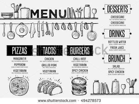 Cafe menu food placemat brochure, restaurant template design