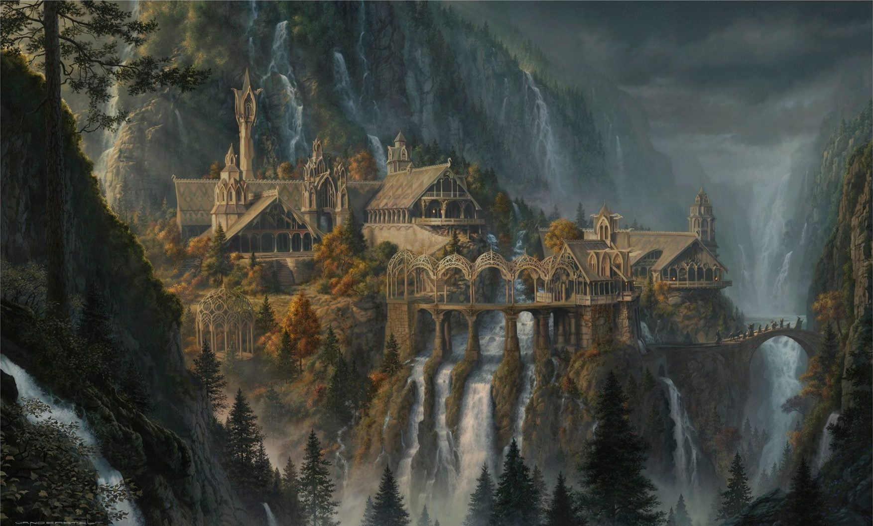 Gray Castle Illustration The Lord Of The Rings Waterfall J R R Tolkien Rivendell Artwork Fantasy Art 720p Castle Illustration Fantasy Art Hd Wallpaper