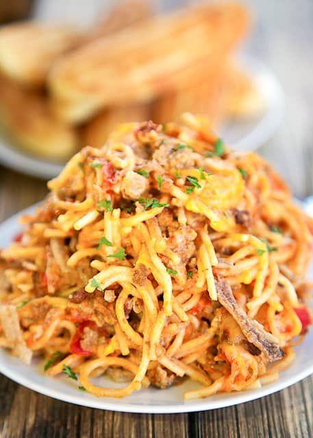 Chili Spaghetti Casserole - Plain Chicken