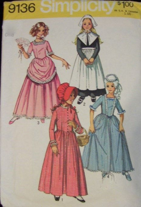 Girl S Historical Costumes Pattern Simplicity 9136 Sz 10