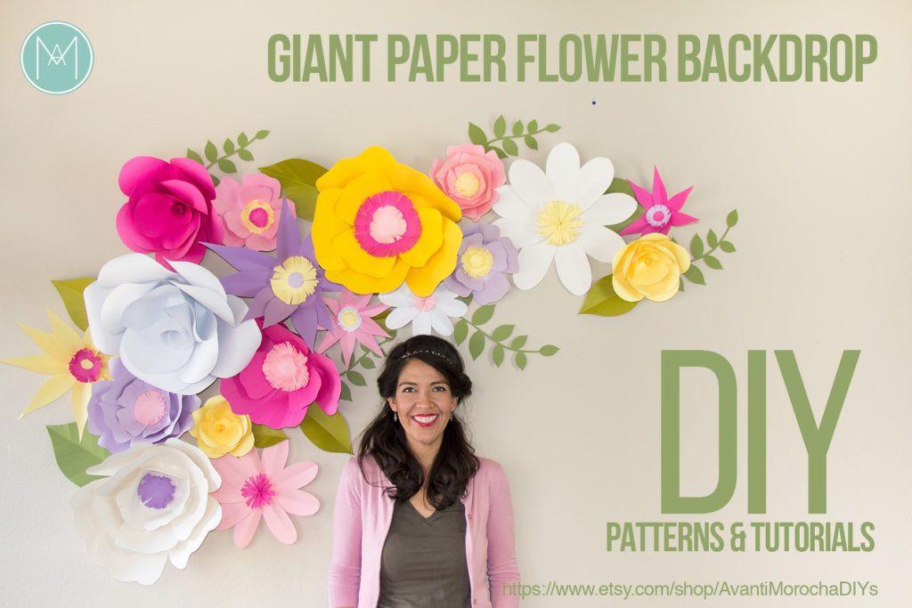 Telón de fondo flor de papel gigante de bricolaje