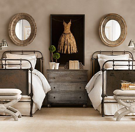 I love the dress painting, the symmetry of the beds and mirrors, and the chest.