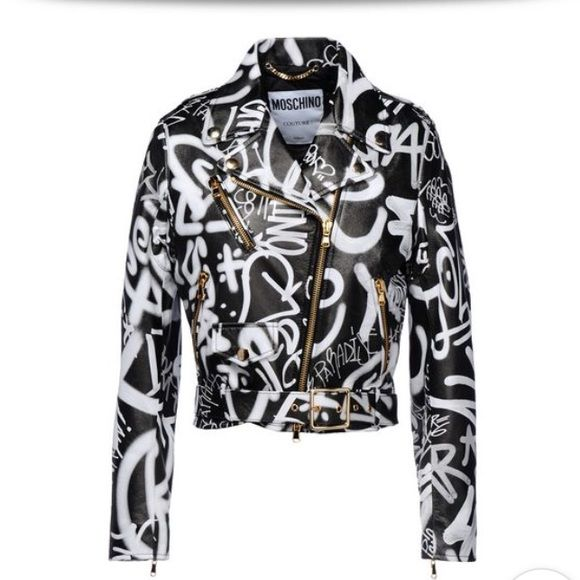 405e6093e76f1 Moschino black and white graffiti leather jacket Moschino black and white…