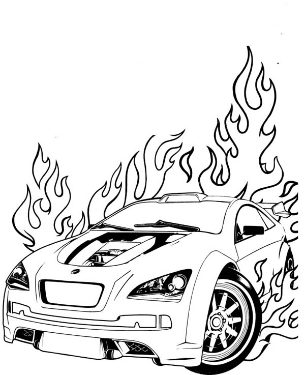 Hot Wheels Is On Fire Coloring Page Netart In 2020 Race Car Coloring Pages Cars Coloring Pages Coloring Pages