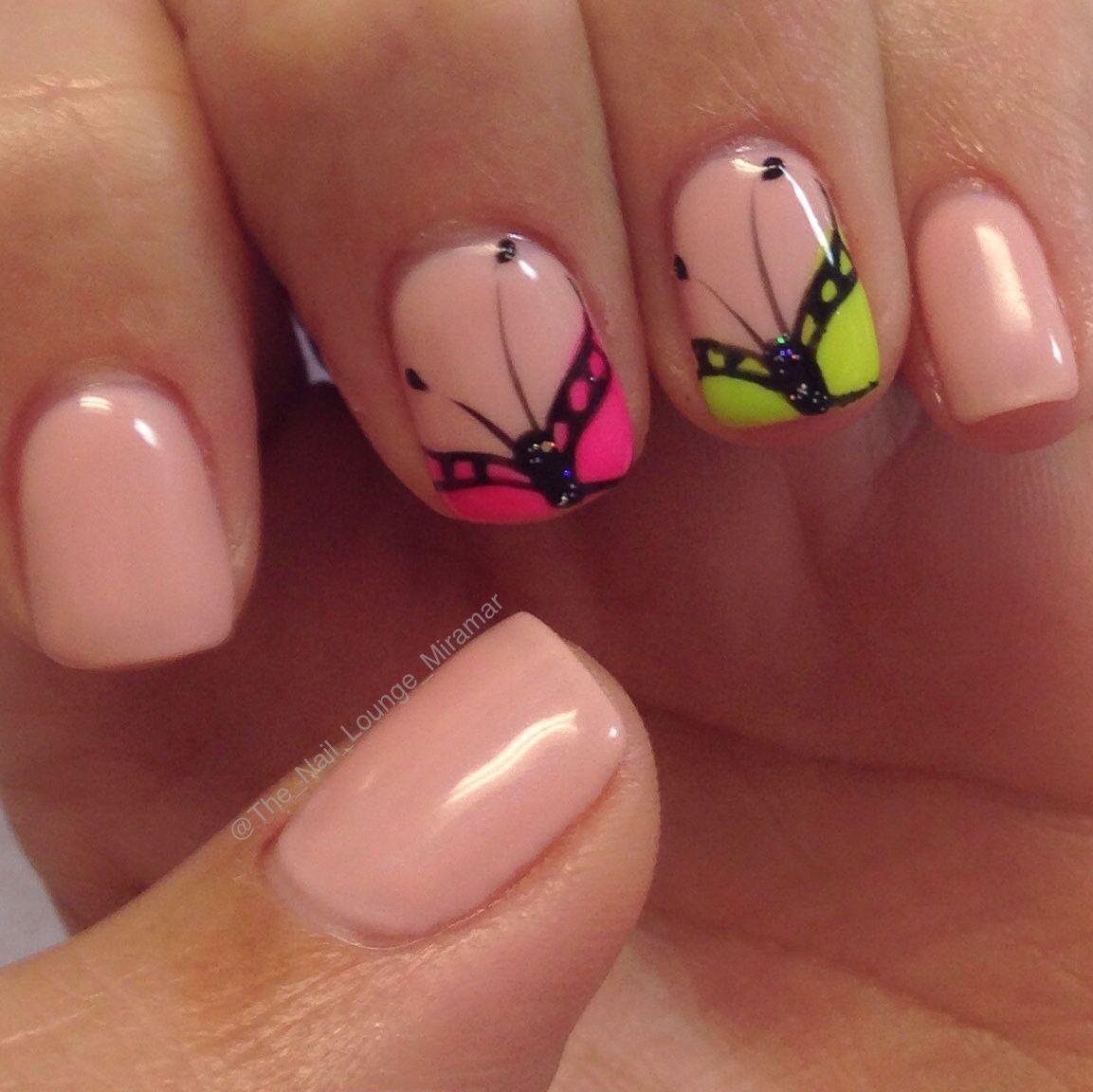 Bright butterfly nail art design   Nail Art   Pinterest   Fingernägel