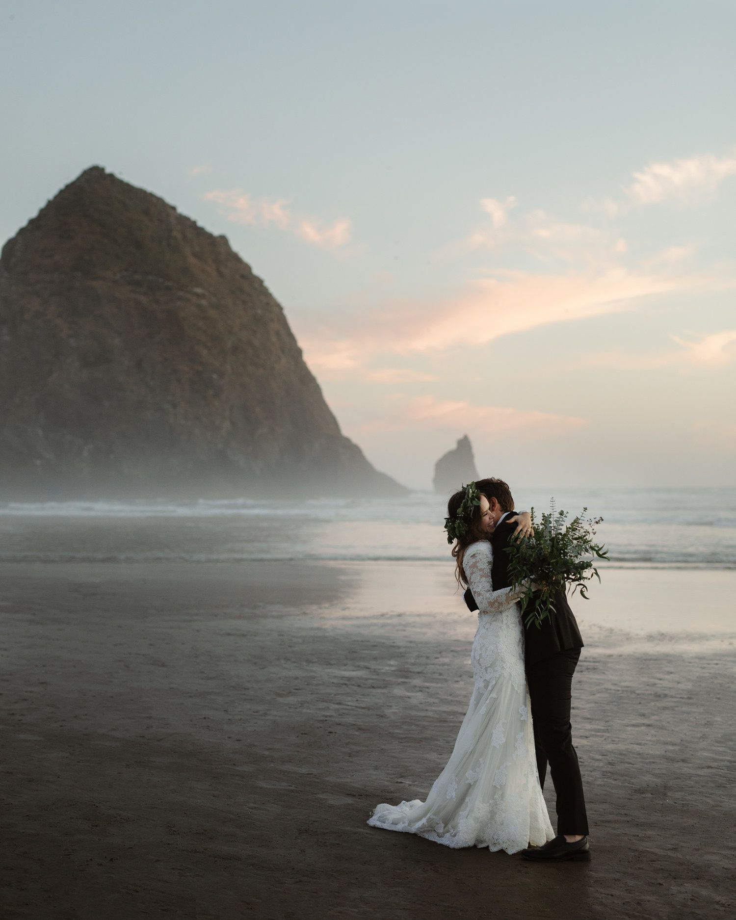 Oregon wedding at Haystack Rock near Portland, OR ...