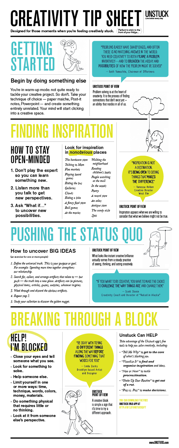 What looks like instant creative brilliance actually comes from a steady practice of seeing, thinking, and acting creativity. This tip sheet can help you build a practice of daily creativity.