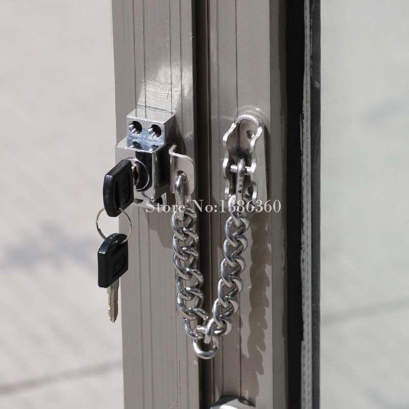 Stainless Steel Casement Window Guard Window Door Restrictor Child Safety Security Chain Lock With Keys Security Casement Windows Casement Windows And Doors