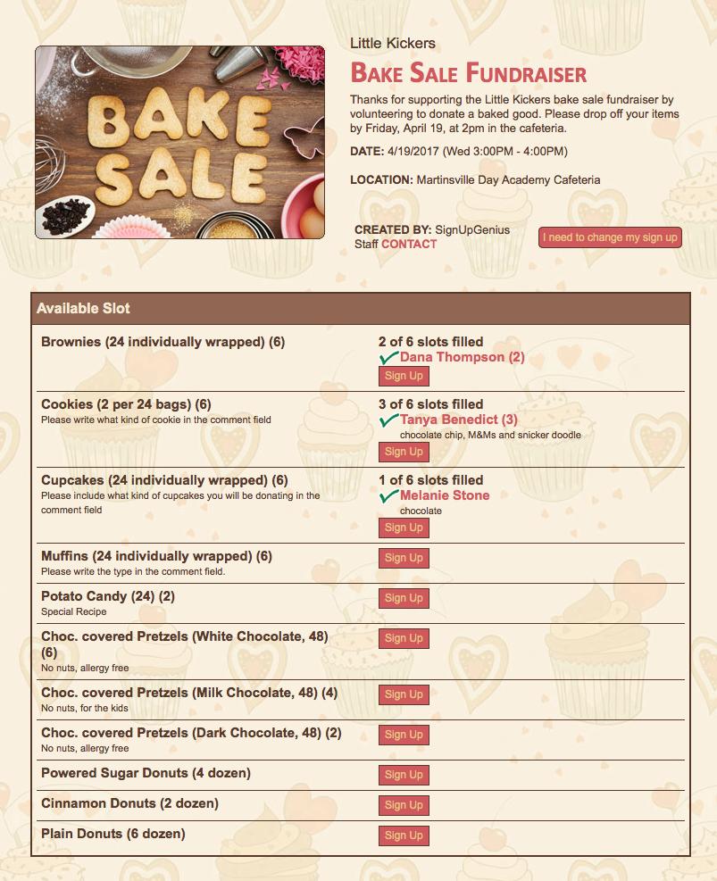 Bake Sale Sign Up