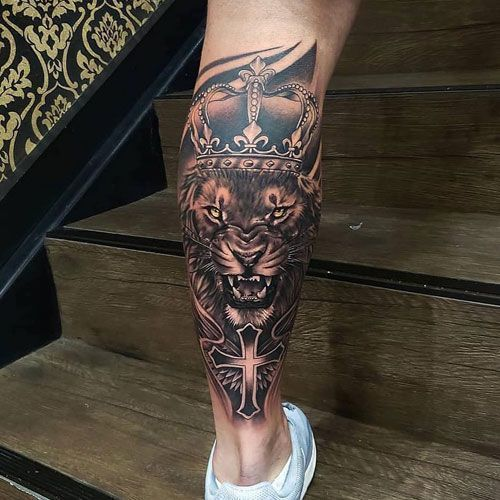 Lion Crown Calf Leg Tattoo Best Leg Tattoos For Men Cool Lower Upper Side L Calf Cool Crown Leg In 2020 Best Leg Tattoos Leg Tattoo Men Tattoos For Guys
