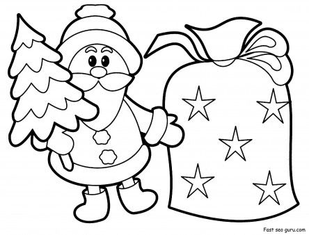 Printable Christmas Santa Claus With Sack Pack Coloring Pages Printable Coloring Santa Coloring Pages Free Christmas Coloring Pages Christmas Coloring Pages