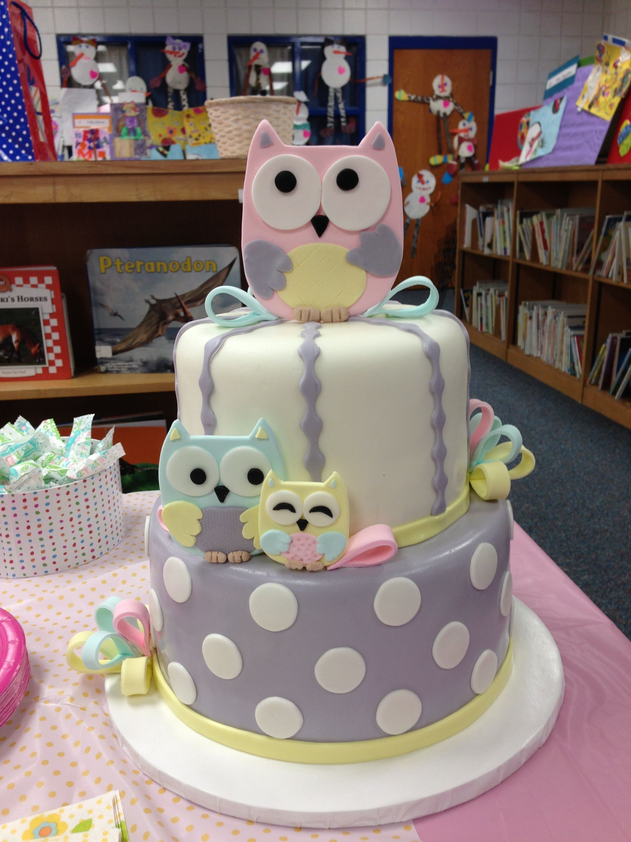 Owl Baby Shower Cake Two tier fondant covered cake with fondant
