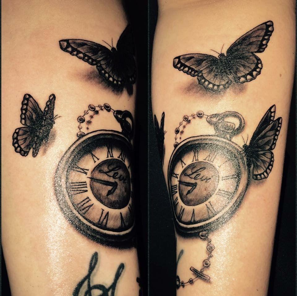 Taschenuhr herz tattoo  Tattoo Unterarm Taschenuhr Schmetterlinge | Tattoo Love ...