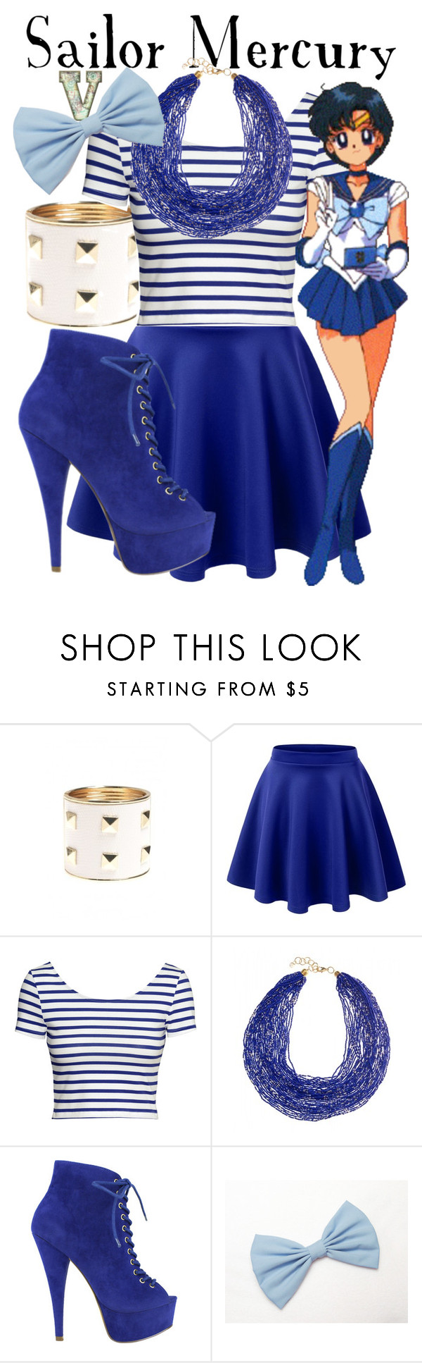 """Sailor Mercury (Sailor Moon)"" by fabfandoms ❤ liked on Polyvore featuring AX Paris, LE3NO, H&M and Mark & Maddux"
