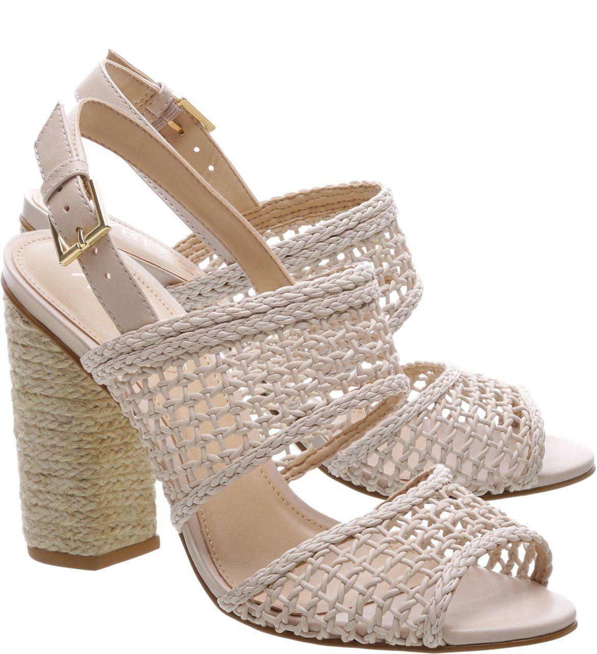 de79ee623 Sandália Teia Salto Bloco Latte | arezzo Site | Shoes | Shoes, Cute ...