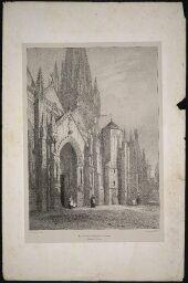 Vue extérieure de l'Eglise de Carantan : Normandie 2me. partie / Emile Sagot. XIXe siècle.