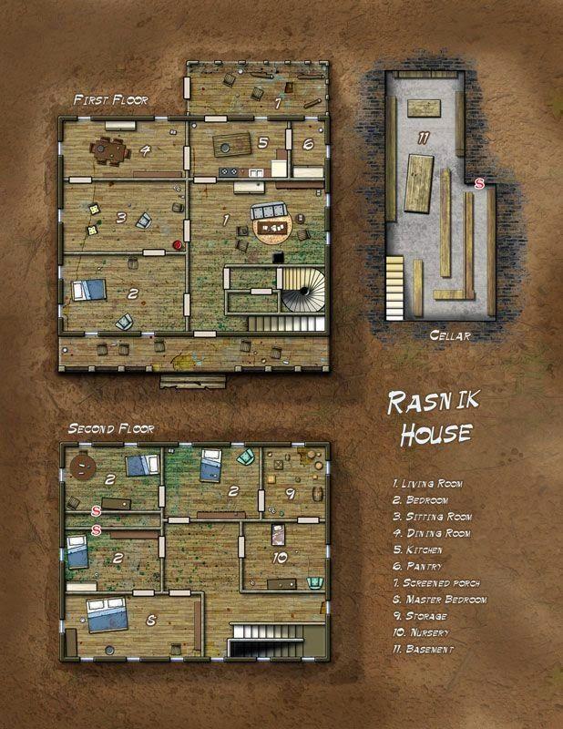 Pequenos mapas Já haviam me pedido aqui alguns mapas de casa e pequenas estruturas. Muitas vezes eles são úteis por facilitar (ou p...