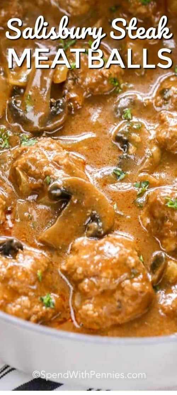 Salisbury Steak Meatballs #beefsteakrecipe