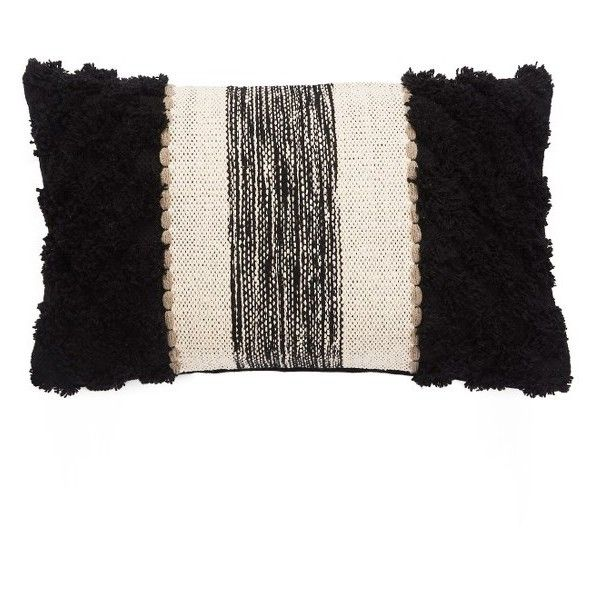 Jaipur Accent Pillow (1,605 MXN) ❤ liked on Polyvore featuring home, home decor, throw pillows, black, textured throw pillows, black accent pillows, black throw pillows, black home decor and patterned throw pillows