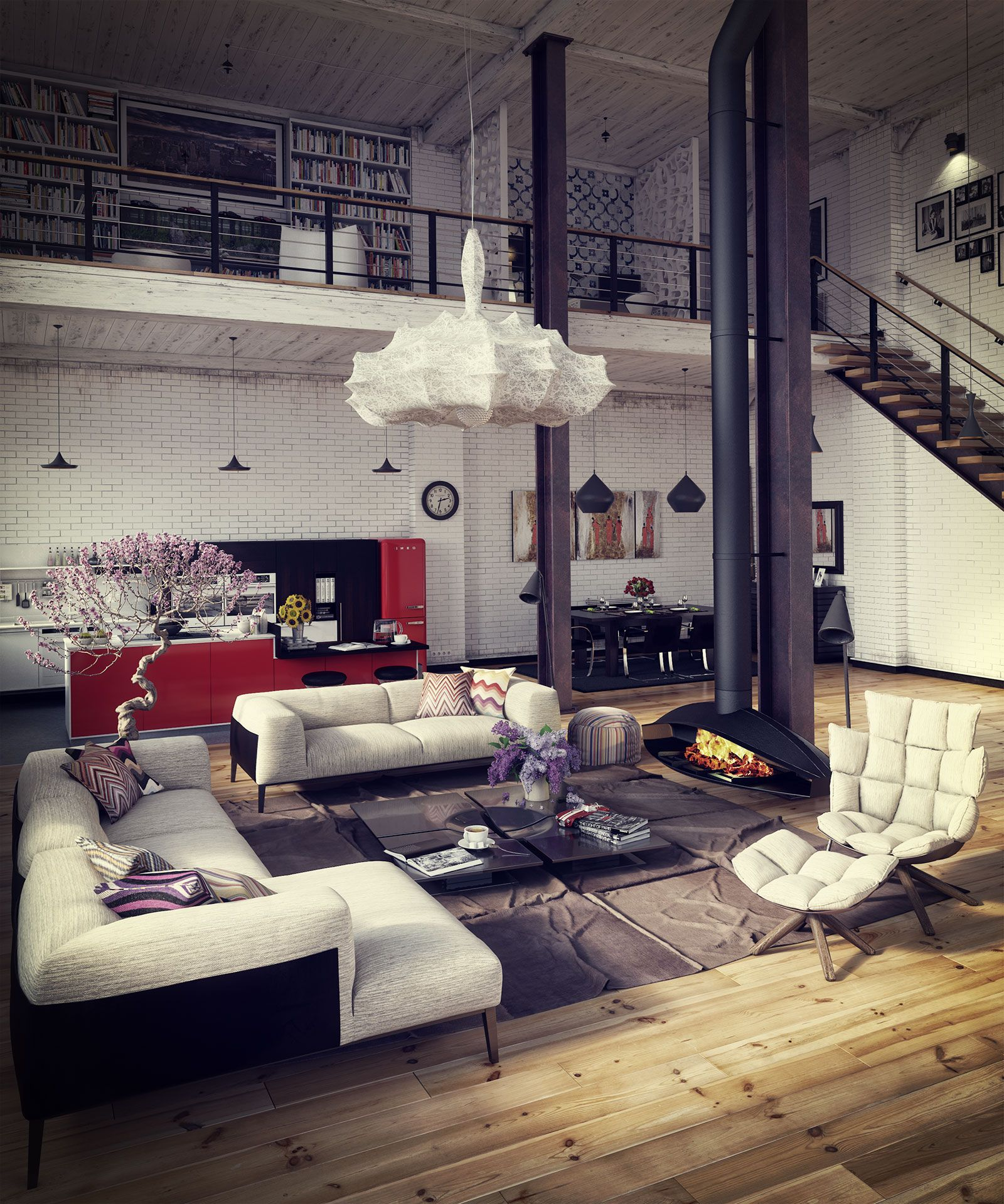 Modern Loft Living Spaces Blending Organic Design and Industrial ...