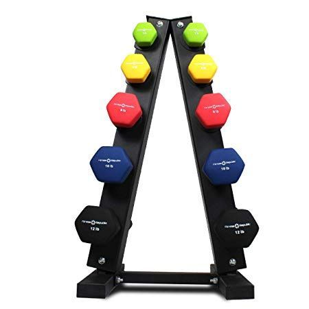 Fitness Republic Solid Steel Dumbbell Rack Holder, A-Frame Dumbbell Storage Racks, Free weights dumb...