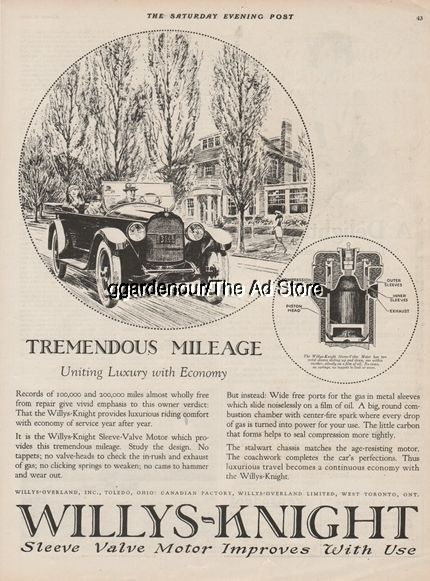 1922 Willys Overland Toledo Oh Knight Engines Motors 1920s Open Motor Car Art Ad Willys Automobile Advertising Car Art