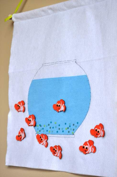 Pin the goldfish on the fish bowl game (for sale on Etsy - stellandlivi.etsy.com)