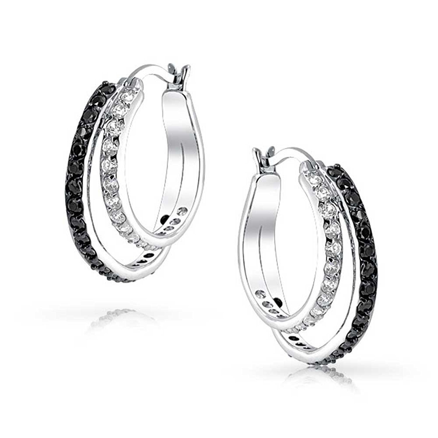 Bling Jewelry 2 Tone Round CZ Simulated Black yx Double Hoop