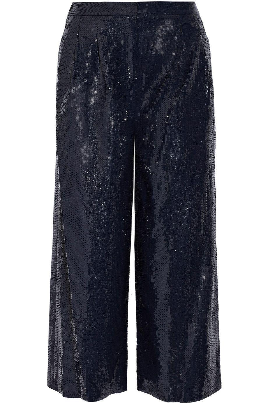 TIBI Nerd Cropped Sequined Crepe Wide-Leg Pants. #tibi #cloth #pants