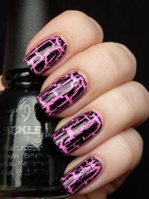 Pink Crackle Nail Art Nails Nailed It Pinterest Crackle Nails