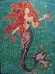 Beautiful Mosaics, Mermaids Tile, Mermaids Backgrounds, Stairs Art, Mosaics Mermaids, Mermaids Mosaics, Backgrounds Tile, Facials Features, Tile Mosaics