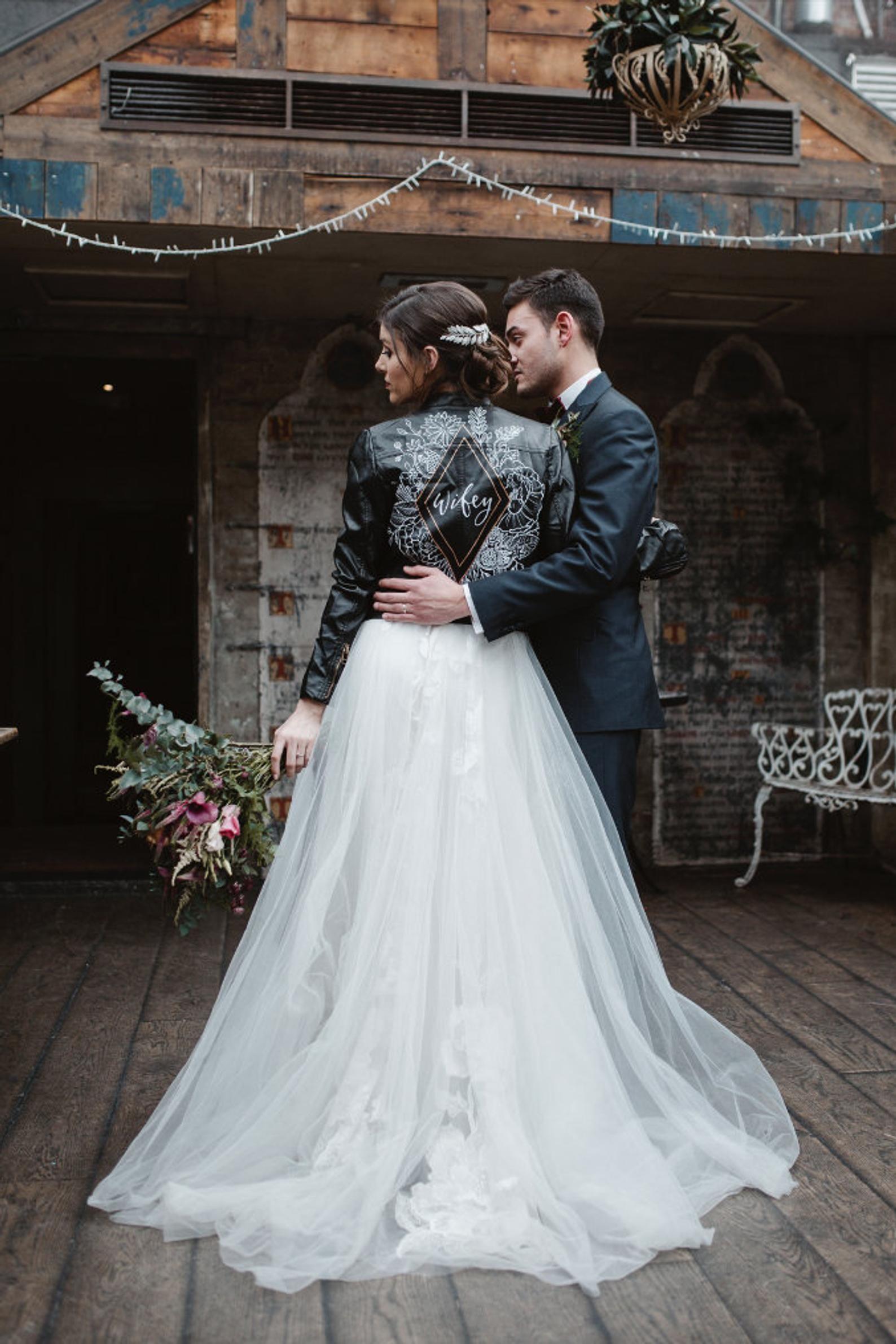 Custom Bridal Leather Jacket Personalised Luxury Gift Box Etsy Edgy Bridal Leather Wedding Colored Wedding Dress [ 2382 x 1588 Pixel ]