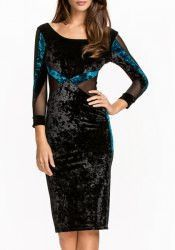 Elegant Scoop Neck Long Sleeve See-Through Color Block Bodycon Dress For Women
