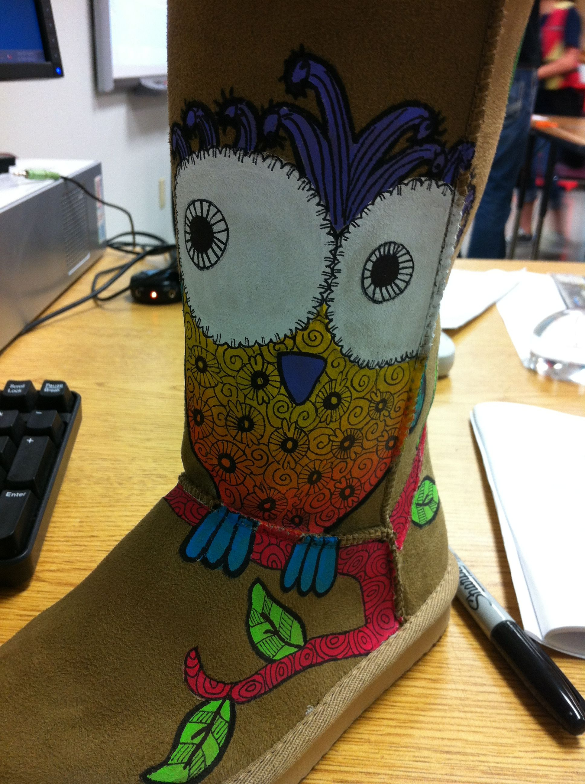 Hand painted owl boots for little girl. From The Middle Sister