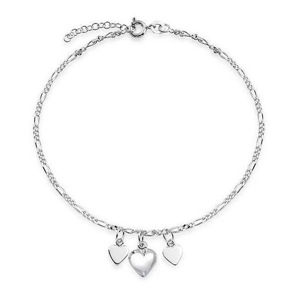 Sterling Silver Love Heart Anklet - Adjustable 5X94PwnD