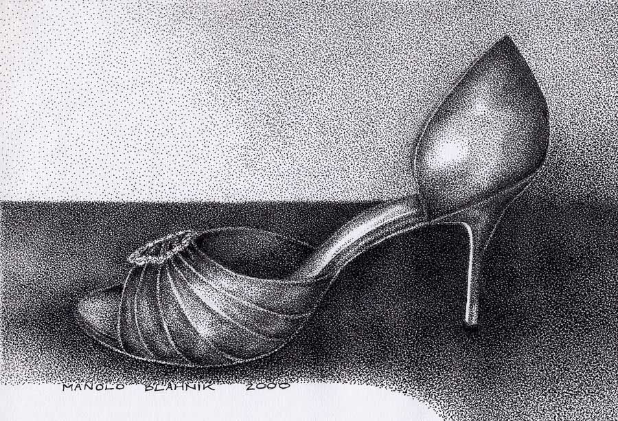 """Manolo Blahnik, """"Carries shoe"""" drawing. This is a stunning image of a fabulous Blahnik creation."""
