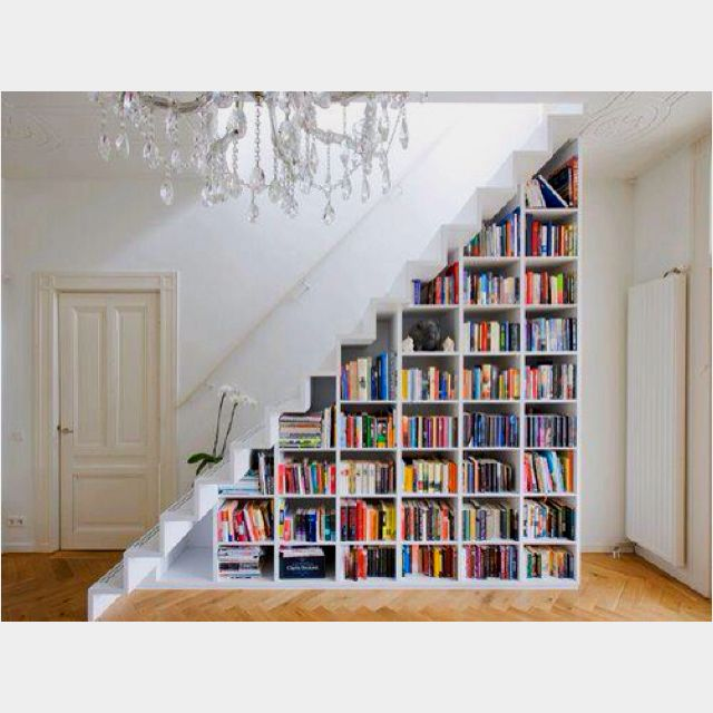 Staircase bookshelf. I want to do this during the summer.
