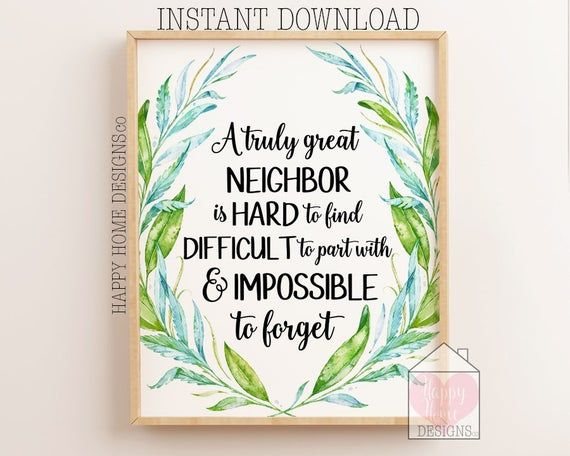 neighbor gift printable a truly great neighbor is hard