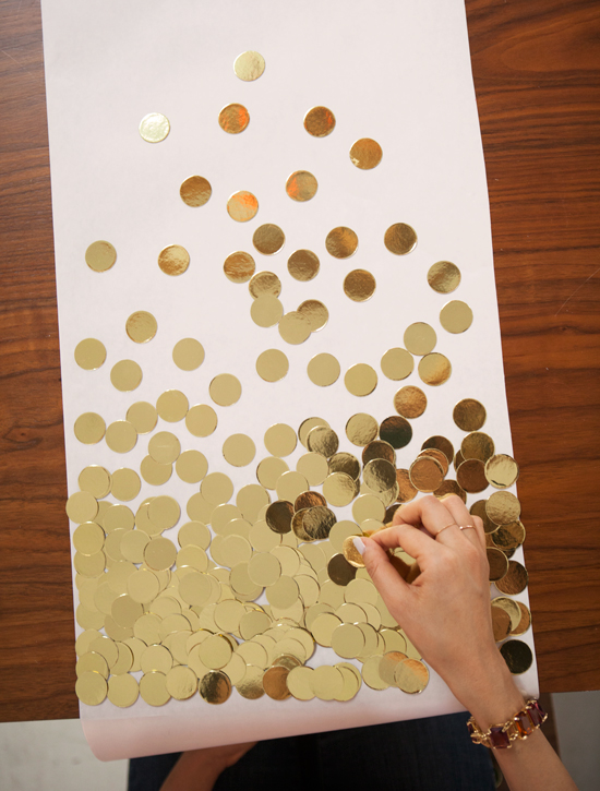 diy gold confetti table runner